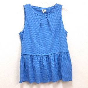 Elle Semi-Sheer Peplum Stretchy Tank Top NWOT